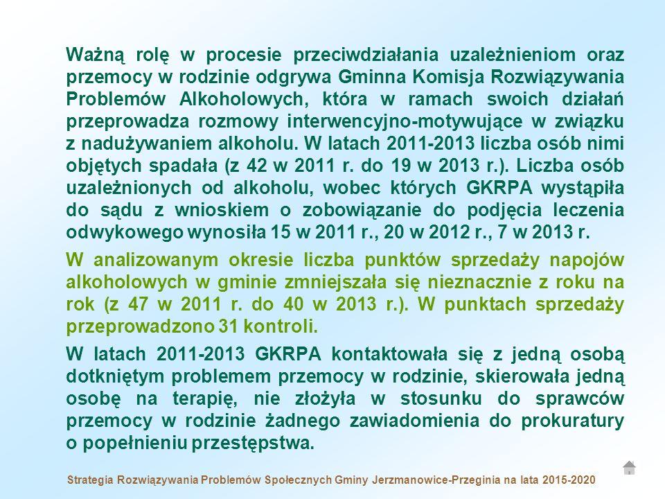 Strategia Rozwiązywania Problemów Społecznych Gminy Jerzmanowice-Przeginia na lata 2015-2020 Ważną rolę w procesie przeciwdziałania uzależnieniom oraz przemocy w rodzinie odgrywa Gminna Komisja Rozwiązywania Problemów Alkoholowych, która w ramach swoich działań przeprowadza rozmowy interwencyjno-motywujące w związku z nadużywaniem alkoholu.