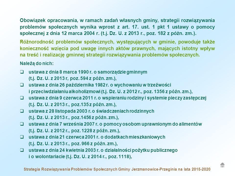 Strategia Rozwiązywania Problemów Społecznych Gminy Jerzmanowice-Przeginia na lata 2015-2020 Obowiązek opracowania, w ramach zadań własnych gminy, strategii rozwiązywania problemów społecznych wynika wprost z art.