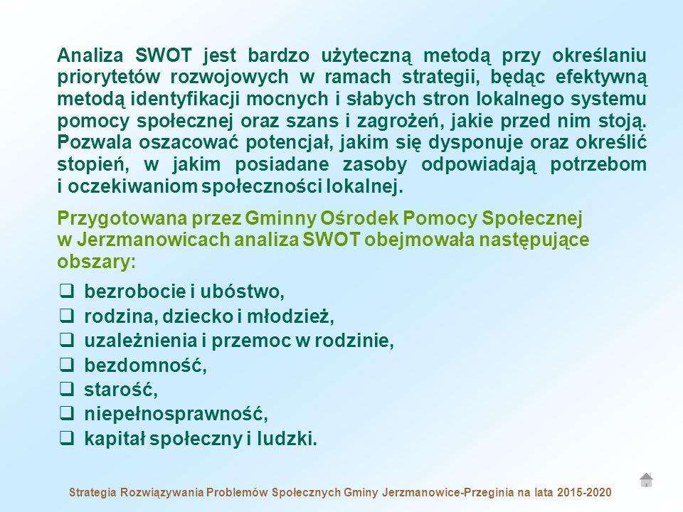 Analiza SWOT jest bardzo użyteczną metodą przy określaniu priorytetów rozwojowych w ramach strategii, będąc efektywną metodą identyfikacji mocnych i słabych stron lokalnego systemu pomocy społecznej oraz szans i zagrożeń, jakie przed nim stoją.