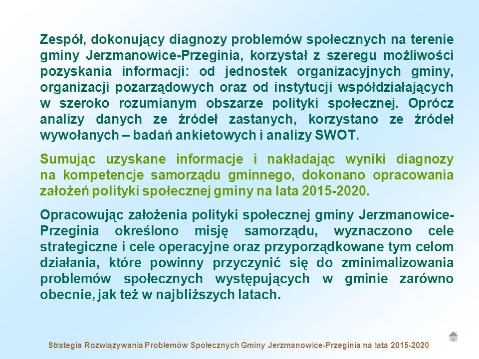 Zespół, dokonujący diagnozy problemów społecznych na terenie gminy Jerzmanowice-Przeginia, korzystał z szeregu możliwości pozyskania informacji: od jednostek organizacyjnych gminy, organizacji pozarządowych oraz od instytucji współdziałających w szeroko rozumianym obszarze polityki społecznej.