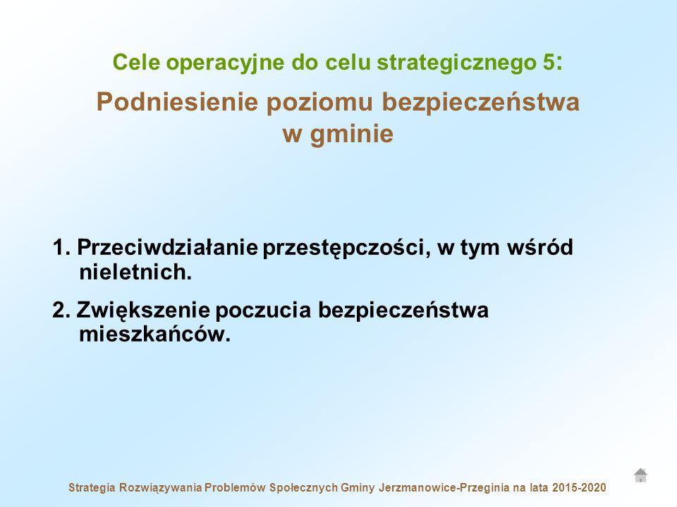 Cele operacyjne do celu strategicznego 5 : Podniesienie poziomu bezpieczeństwa w gminie Strategia Rozwiązywania Problemów Społecznych Gminy Jerzmanowice-Przeginia na lata 2015-2020 1.