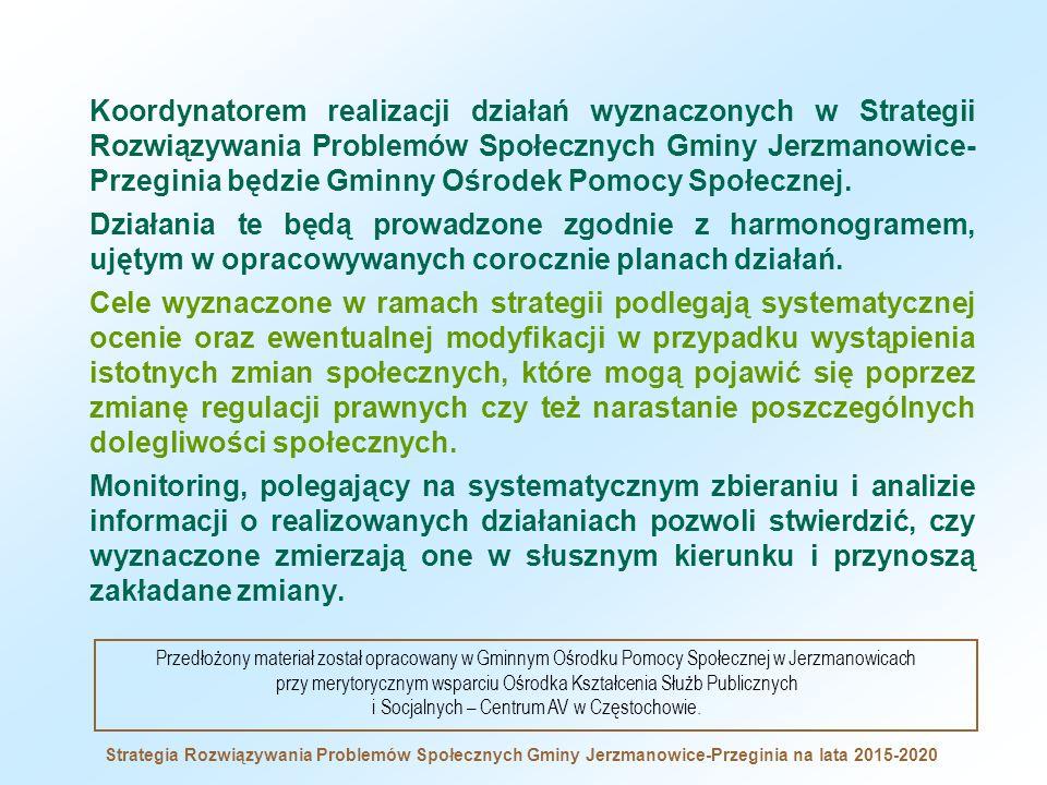 Koordynatorem realizacji działań wyznaczonych w Strategii Rozwiązywania Problemów Społecznych Gminy Jerzmanowice- Przeginia będzie Gminny Ośrodek Pomocy Społecznej.