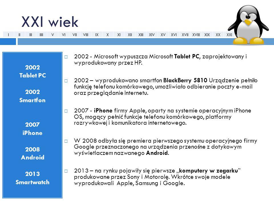 XXI wiek  2002 - Microsoft wypuszcza Microsoft Tablet PC, zaprojektowany i wyprodukowany przez HP.  2002 – wyprodukowano smartfon BlackBerry 5810 Ur