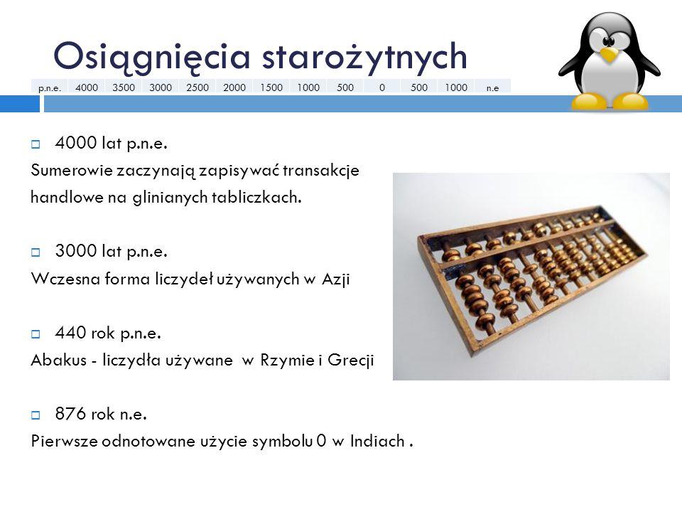 Osiągnięcia starożytnych  4000 lat p.n.e. Sumerowie zaczynają zapisywać transakcje handlowe na glinianych tabliczkach.  3000 lat p.n.e. Wczesna form