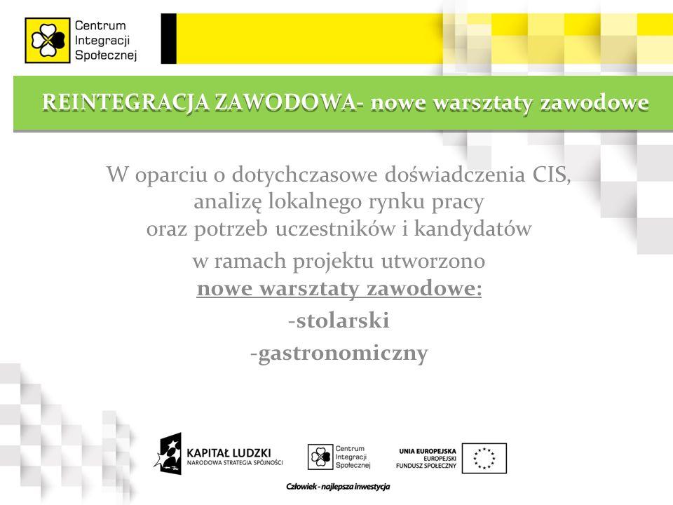 REINTEGRACJA ZAWODOWA- nowe warsztaty zawodowe W oparciu o dotychczasowe doświadczenia CIS, analizę lokalnego rynku pracy oraz potrzeb uczestników i kandydatów w ramach projektu utworzono nowe warsztaty zawodowe: -stolarski -gastronomiczny
