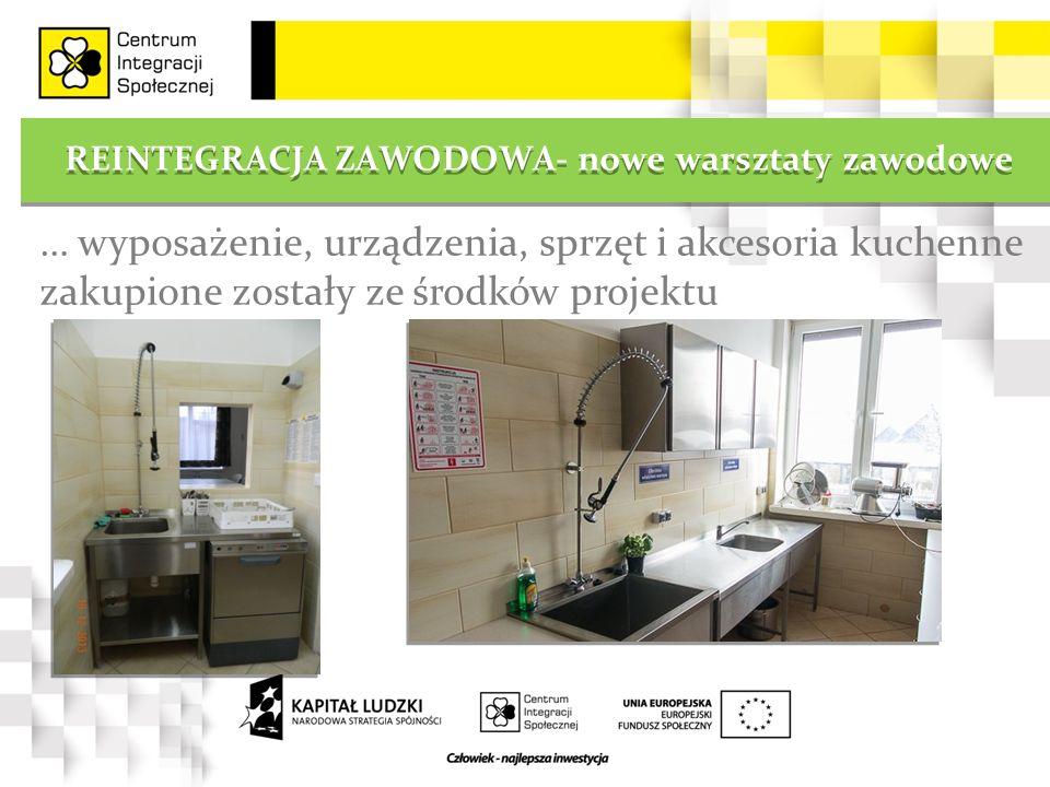REINTEGRACJA ZAWODOWA- nowe warsztaty zawodowe … wyposażenie, urządzenia, sprzęt i akcesoria kuchenne zakupione zostały ze środków projektu