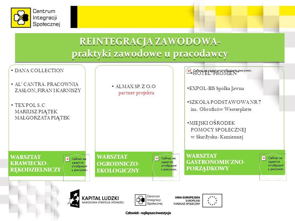 REINTEGRACJA ZAWODOWA- praktyki zawodowe u pracodawcy REINTEGRACJA ZAWODOWA- praktyki zawodowe u pracodawcy DANA COLLECTION AL CANTRA.