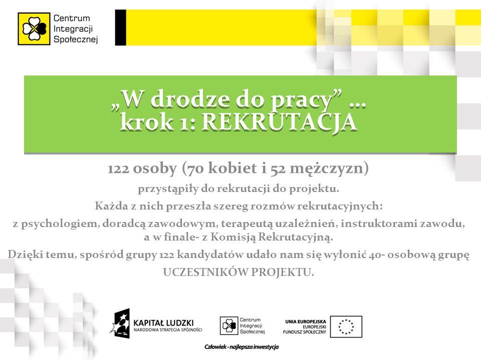 """""""W drodze do pracy … krok 1: REKRUTACJA 122 osoby (70 kobiet i 52 mężczyzn) przystąpiły do rekrutacji do projektu."""
