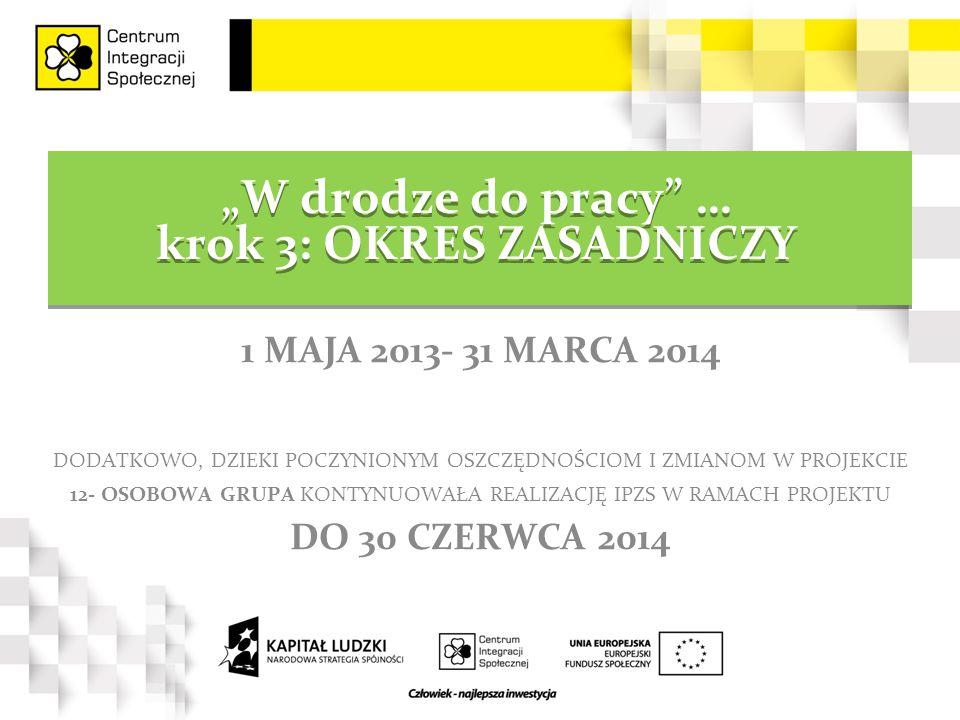"""""""W drodze do pracy … krok 3: OKRES ZASADNICZY 1 MAJA 2013- 31 MARCA 2014 DODATKOWO, DZIEKI POCZYNIONYM OSZCZĘDNOŚCIOM I ZMIANOM W PROJEKCIE 12- OSOBOWA GRUPA KONTYNUOWAŁA REALIZACJĘ IPZS W RAMACH PROJEKTU DO 30 CZERWCA 2014"""