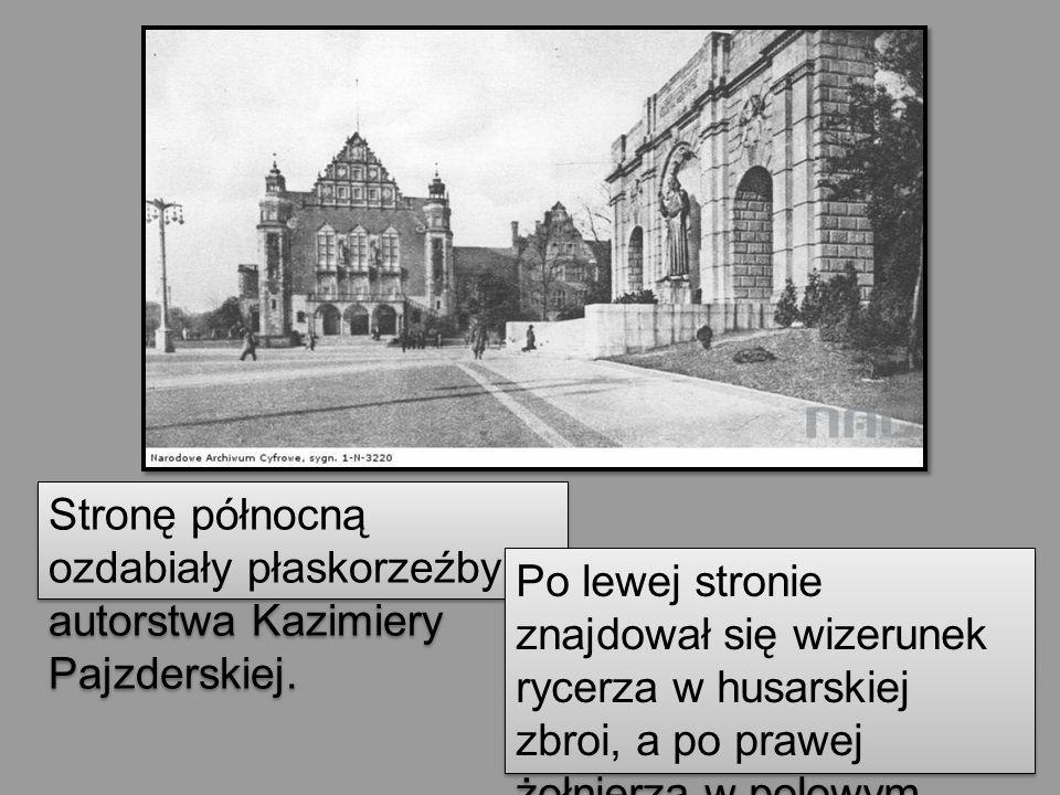 Stronę północną ozdabiały płaskorzeźby autorstwa Kazimiery Pajzderskiej. Po lewej stronie znajdował się wizerunek rycerza w husarskiej zbroi, a po pra