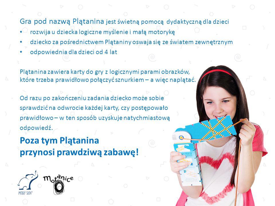 Gra pod nazwą Plątanina jest świetną pomocą dydaktyczną dla dzieci rozwija u dziecka logiczne myślenie i małą motorykę dziecko za pośrednictwem Plątaniny oswaja się ze światem zewnętrznym odpowiednia dla dzieci od 4 lat Plątanina zawiera karty do gry z logicznymi parami obrazków, które trzeba prawidłowo połączyć sznurkiem – a więc naplątać.