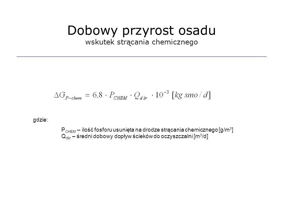 gdzie: P CHEM – ilość fosforu usunięta na drodze strącania chemicznego [g/m 3 ] Q dśr – średni dobowy dopływ ścieków do oczyszczalni [m 3 /d] Dobowy p