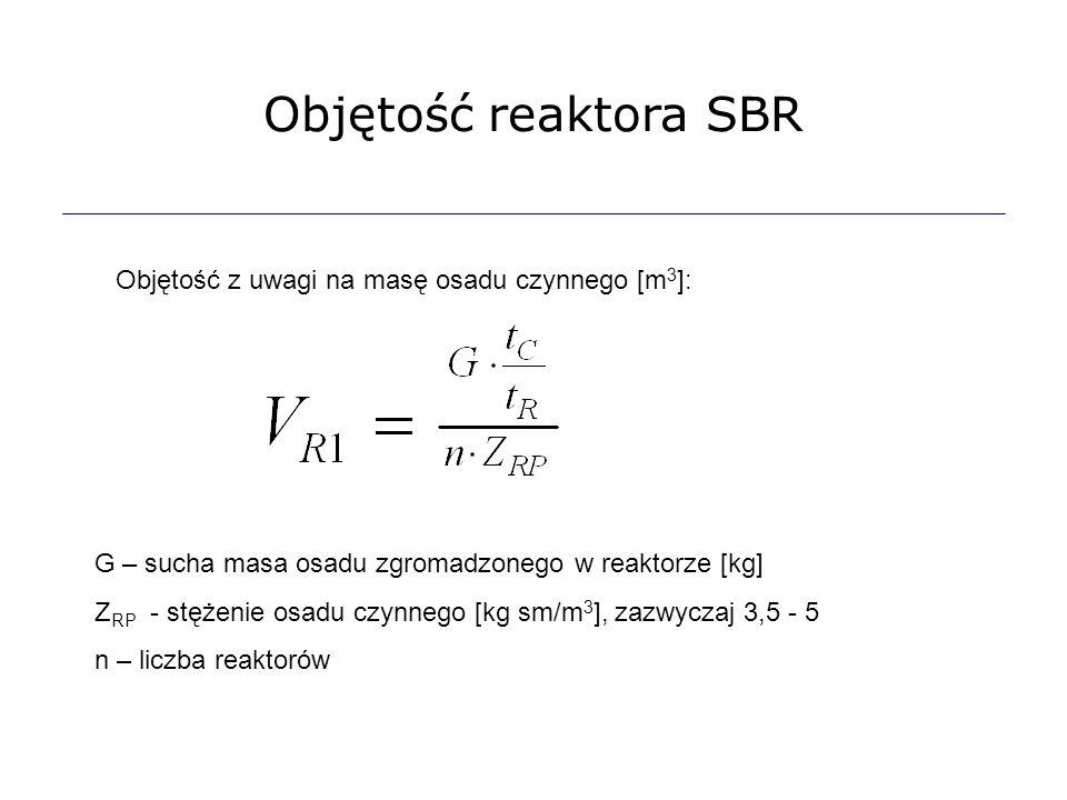 Objętość reaktora SBR Objętość z uwagi na masę osadu czynnego [m 3 ]: G – sucha masa osadu zgromadzonego w reaktorze [kg] Z RP - stężenie osadu czynne