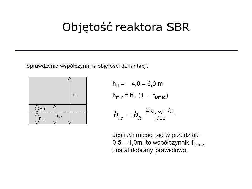 Objętość reaktora SBR Sprawdzenie współczynnika objętości dekantacji: h R = 4,0 – 6,0 m h min = h R (1 - f Dmax ) h os hh h min hRhR Jeśli  h mieśc