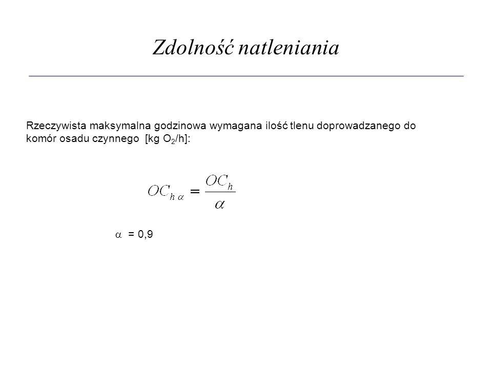 Zdolność natleniania Rzeczywista maksymalna godzinowa wymagana ilość tlenu doprowadzanego do komór osadu czynnego [kg O 2 /h]:  = 0,9