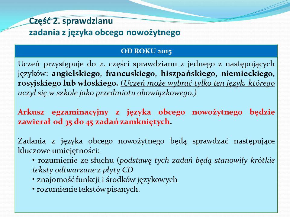 Część 2. sprawdzianu zadania z języka obcego nowożytnego 10 OD ROKU 2015 Uczeń przystępuje do 2. części sprawdzianu z jednego z następujących języków: