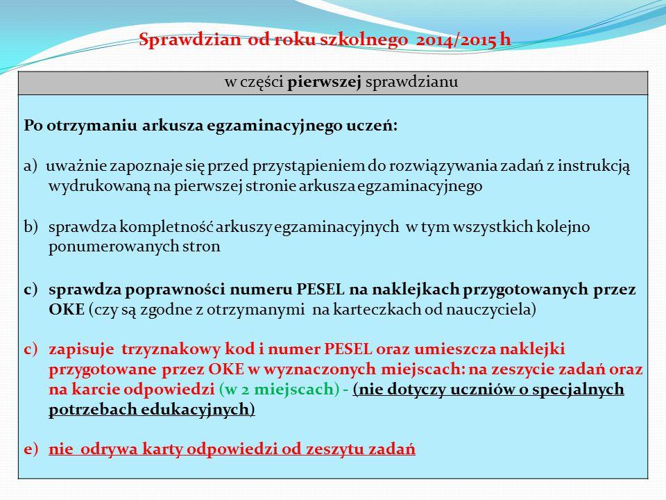 w części pierwszej sprawdzianu Po otrzymaniu arkusza egzaminacyjnego uczeń: a) uważnie zapoznaje się przed przystąpieniem do rozwiązywania zadań z ins