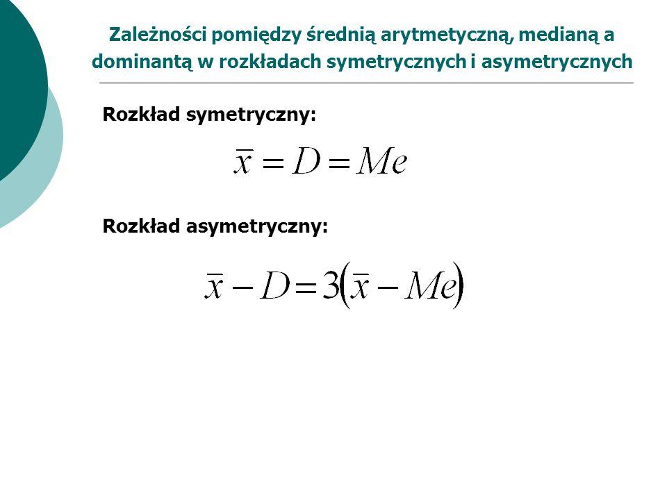 Zależności pomiędzy średnią arytmetyczną, medianą a dominantą w rozkładach symetrycznych i asymetrycznych Rozkład symetryczny: Rozkład asymetryczny: