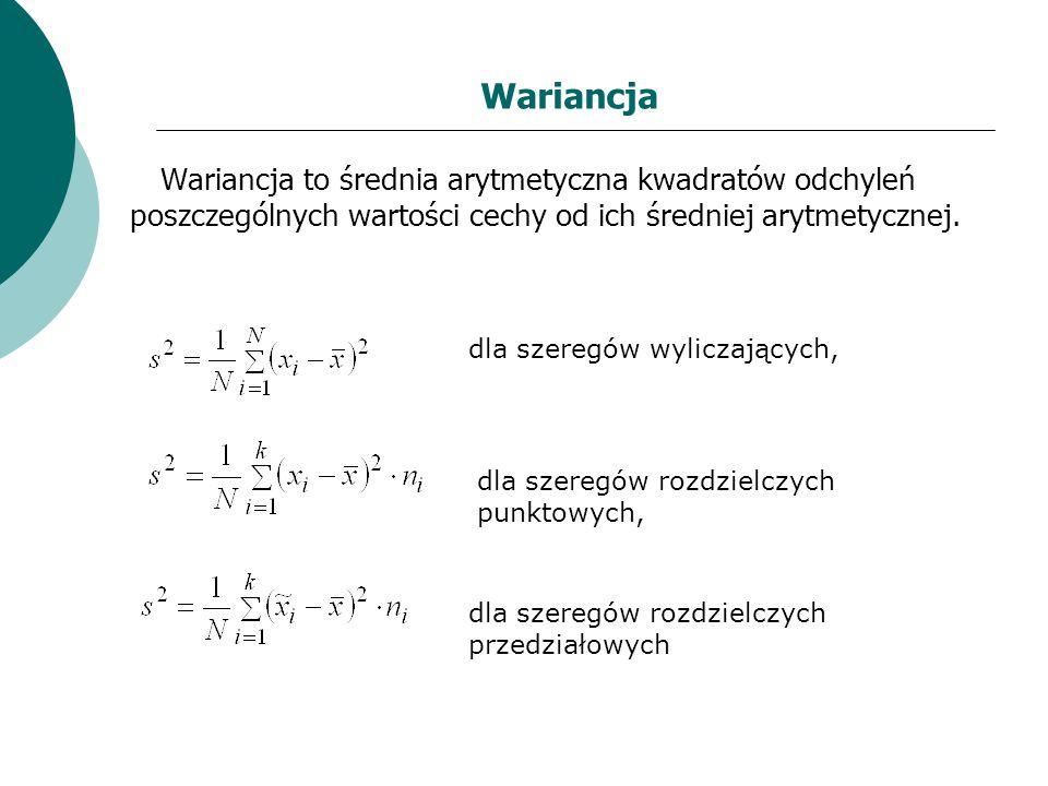 Wariancja Wariancja to średnia arytmetyczna kwadratów odchyleń poszczególnych wartości cechy od ich średniej arytmetycznej. dla szeregów wyliczających