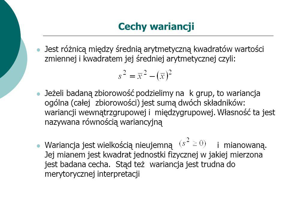 Cechy wariancji Jest różnicą między średnią arytmetyczną kwadratów wartości zmiennej i kwadratem jej średniej arytmetycznej czyli: Jeżeli badaną zbior