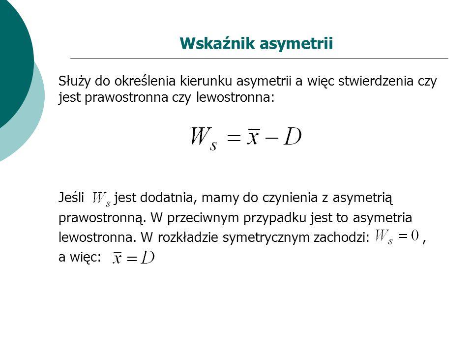 Wskaźnik asymetrii Służy do określenia kierunku asymetrii a więc stwierdzenia czy jest prawostronna czy lewostronna: Jeśli jest dodatnia, mamy do czyn