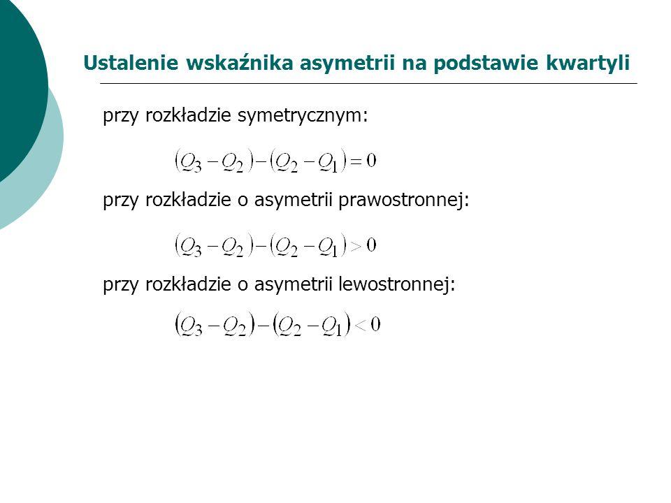 Ustalenie wskaźnika asymetrii na podstawie kwartyli przy rozkładzie symetrycznym: przy rozkładzie o asymetrii prawostronnej: przy rozkładzie o asymetr