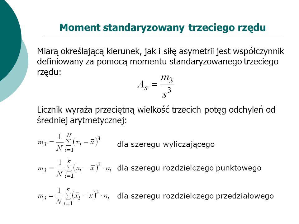 Moment standaryzowany trzeciego rzędu Miarą określającą kierunek, jak i siłę asymetrii jest współczynnik definiowany za pomocą momentu standaryzowaneg