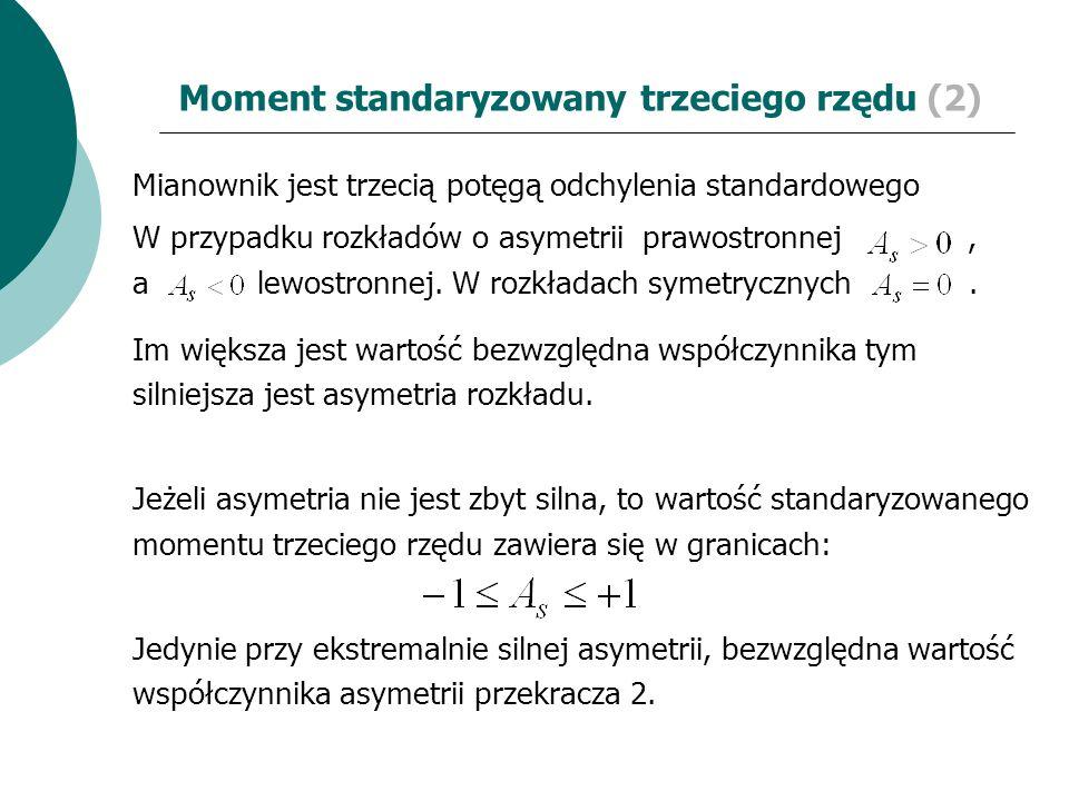 Moment standaryzowany trzeciego rzędu (2) Mianownik jest trzecią potęgą odchylenia standardowego W przypadku rozkładów o asymetrii prawostronnej, a le