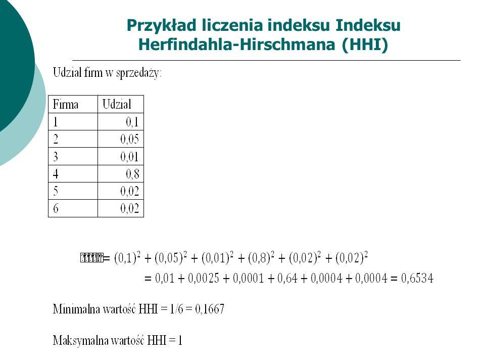 Przykład liczenia indeksu Indeksu Herfindahla-Hirschmana (HHI)