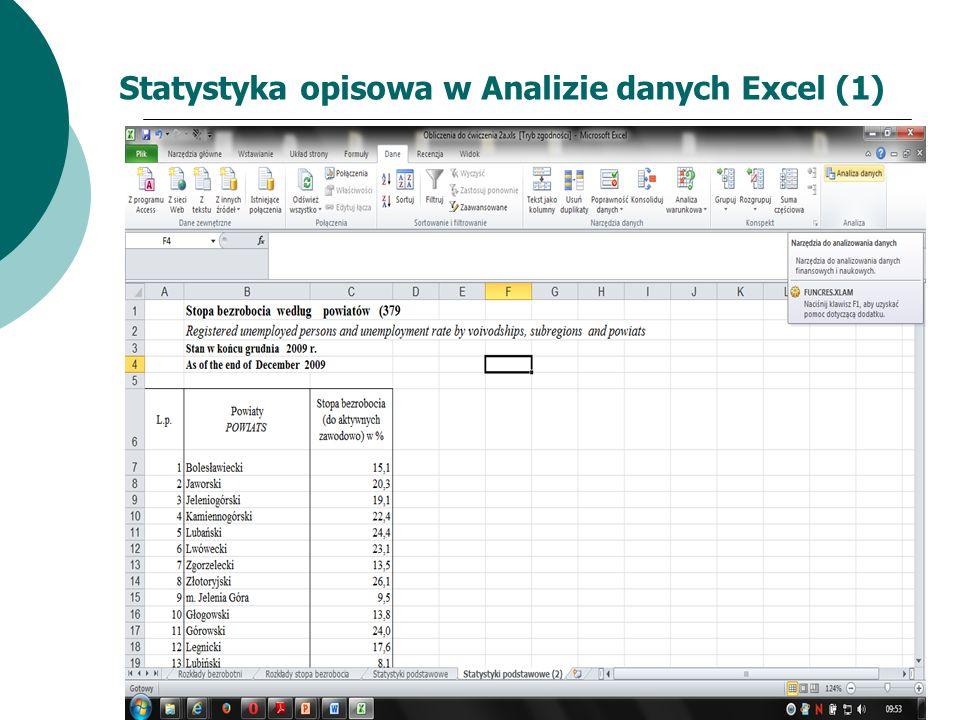 Statystyka opisowa w Analizie danych Excel (1)