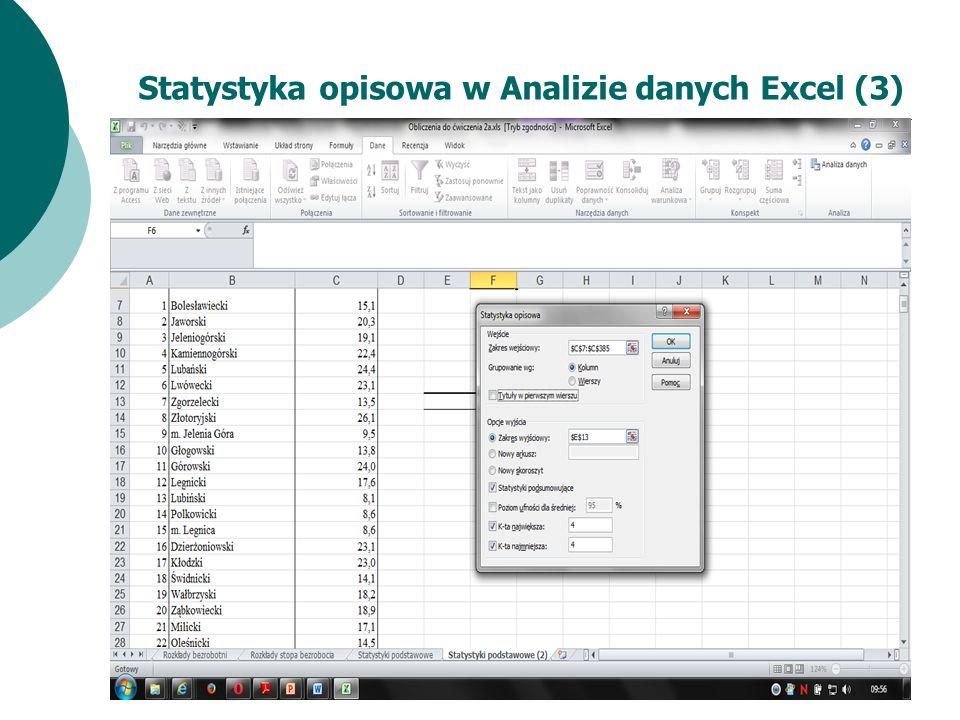 Statystyka opisowa w Analizie danych Excel (3)