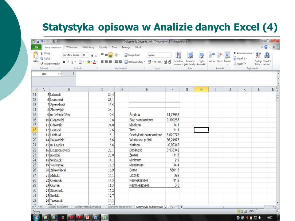 Statystyka opisowa w Analizie danych Excel (4)