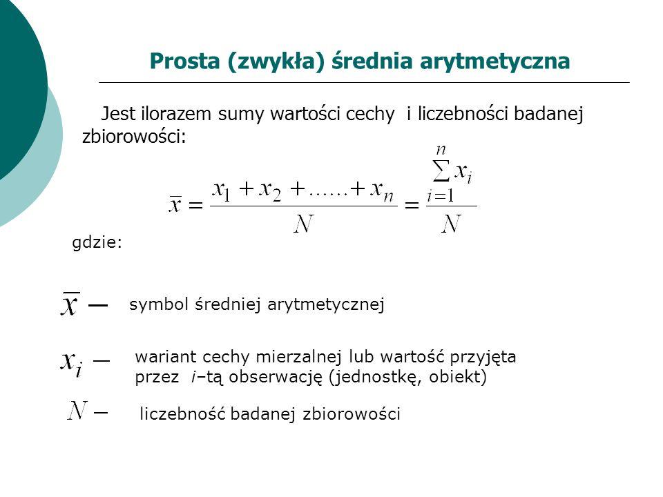 Prosta (zwykła) średnia arytmetyczna Jest ilorazem sumy wartości cechy i liczebności badanej zbiorowości: gdzie: symbol średniej arytmetycznej wariant
