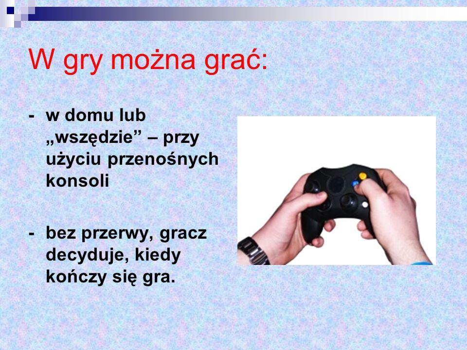 """W gry można grać: - w domu lub """"wszędzie"""" – przy użyciu przenośnych konsoli - bez przerwy, gracz decyduje, kiedy kończy się gra."""