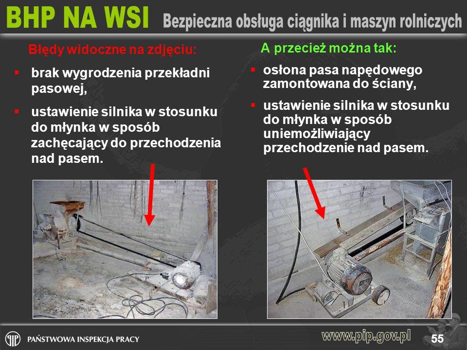 55 A przecież można tak:  osłona pasa napędowego zamontowana do ściany,  ustawienie silnika w stosunku do młynka w sposób uniemożliwiający przechodzenie nad pasem.
