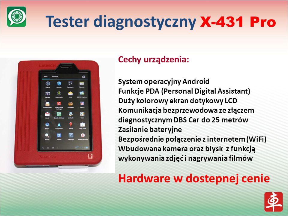 Tester diagnostyczny X-431 Pro Cechy urządzenia: System operacyjny Android Funkcje PDA (Personal Digital Assistant) Duży kolorowy ekran dotykowy LCD Komunikacja bezprzewodowa ze złączem diagnostycznym DBS Car do 25 metrów Zasilanie bateryjne Bezpośrednie połączenie z internetem (WiFi) Wbudowana kamera oraz blysk z funkcją wykonywania zdjęć i nagrywania filmów Hardware w dostepnej cenie