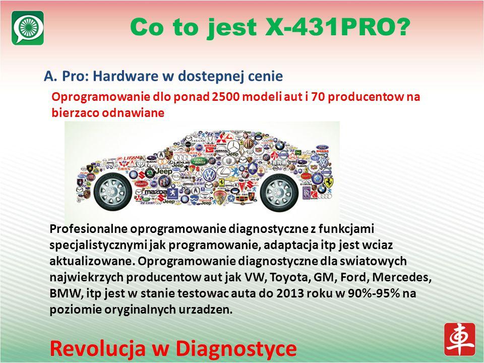 A. Pro: Hardware w dostepnej cenie Oprogramowanie dlo ponad 2500 modeli aut i 70 producentow na bierzaco odnawiane Co to jest X-431PRO? Profesionalne