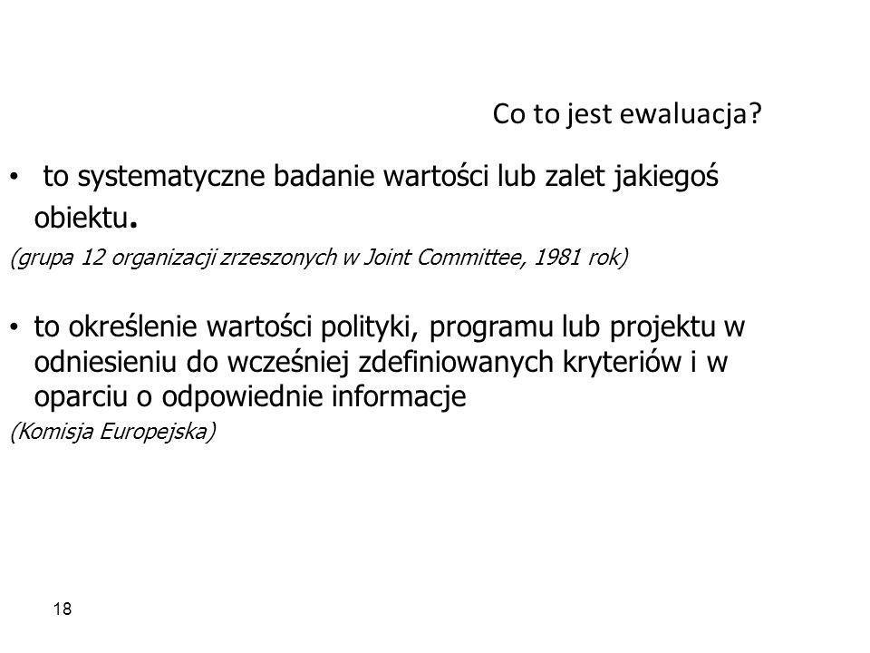 18 Co to jest ewaluacja? to systematyczne badanie wartości lub zalet jakiegoś obiektu. (grupa 12 organizacji zrzeszonych w Joint Committee, 1981 rok)