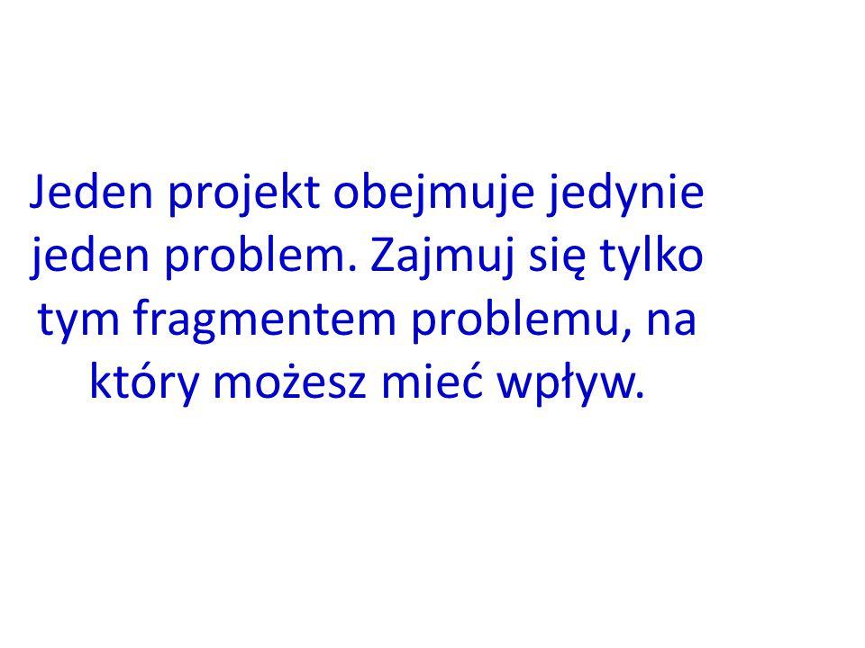 8 Jeden projekt obejmuje jedynie jeden problem. Zajmuj się tylko tym fragmentem problemu, na który możesz mieć wpływ.