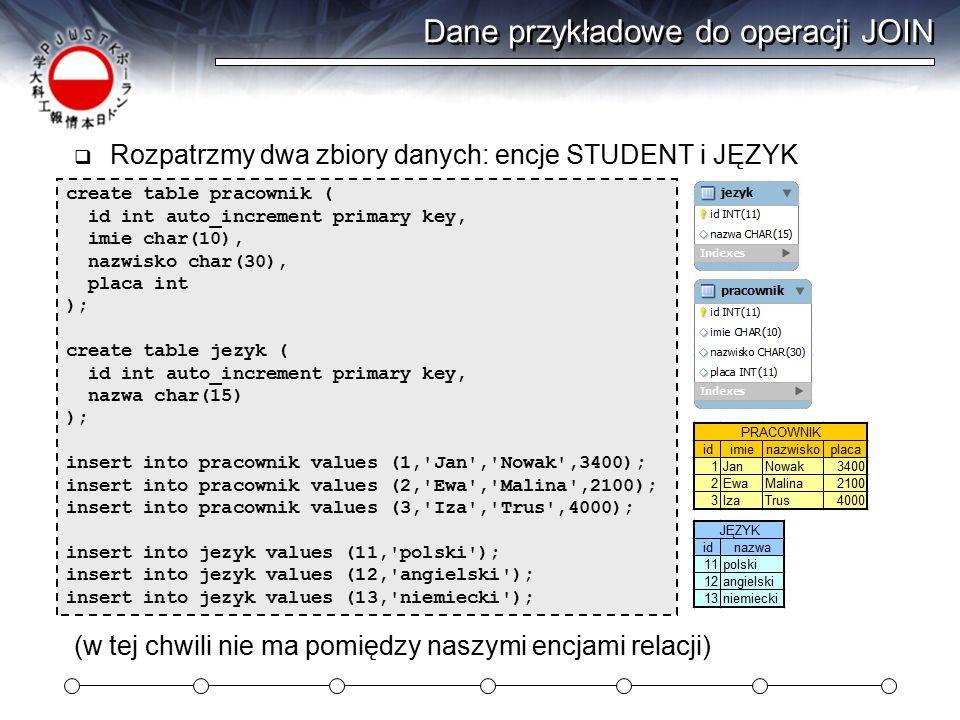 Dane przykładowe do operacji JOIN  Rozpatrzmy dwa zbiory danych: encje STUDENT i JĘZYK create table pracownik ( id int auto_increment primary key, imie char(10), nazwisko char(30), placa int ); create table jezyk ( id int auto_increment primary key, nazwa char(15) ); insert into pracownik values (1, Jan , Nowak ,3400); insert into pracownik values (2, Ewa , Malina ,2100); insert into pracownik values (3, Iza , Trus ,4000); insert into jezyk values (11, polski ); insert into jezyk values (12, angielski ); insert into jezyk values (13, niemiecki ); (w tej chwili nie ma pomiędzy naszymi encjami relacji)