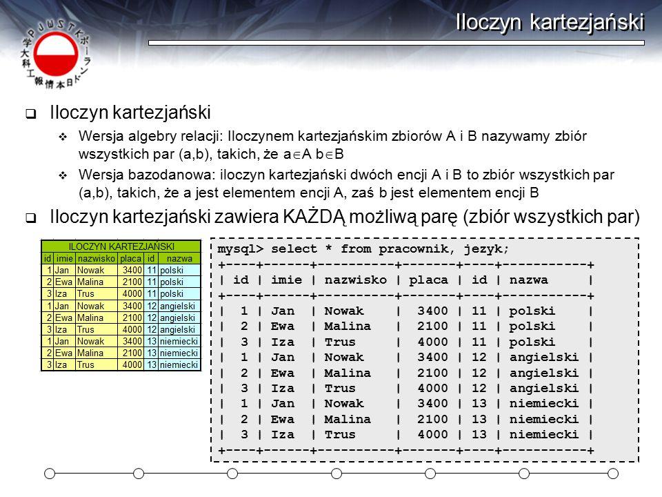 Iloczyn kartezjański  Iloczyn kartezjański  Wersja algebry relacji: Iloczynem kartezjańskim zbiorów A i B nazywamy zbiór wszystkich par (a,b), takich, że a  A b  B  Wersja bazodanowa: iloczyn kartezjański dwóch encji A i B to zbiór wszystkich par (a,b), takich, że a jest elementem encji A, zaś b jest elementem encji B  Iloczyn kartezjański zawiera KAŻDĄ możliwą parę (zbiór wszystkich par) mysql> select * from pracownik, jezyk; +----+------+----------+-------+----+-----------+ | id | imie | nazwisko | placa | id | nazwa | +----+------+----------+-------+----+-----------+ | 1 | Jan | Nowak | 3400 | 11 | polski | | 2 | Ewa | Malina | 2100 | 11 | polski | | 3 | Iza | Trus | 4000 | 11 | polski | | 1 | Jan | Nowak | 3400 | 12 | angielski | | 2 | Ewa | Malina | 2100 | 12 | angielski | | 3 | Iza | Trus | 4000 | 12 | angielski | | 1 | Jan | Nowak | 3400 | 13 | niemiecki | | 2 | Ewa | Malina | 2100 | 13 | niemiecki | | 3 | Iza | Trus | 4000 | 13 | niemiecki | +----+------+----------+-------+----+-----------+