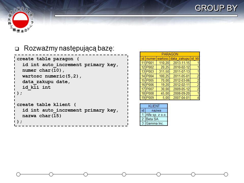 GROUP BY  Rozważmy następującą bazę: create table paragon ( id int auto_increment primary key, numer char(10), wartosc numeric(5,2), data_zakupu date, id_kli int ); create table klient ( id int auto_increment primary key, nazwa char(15) );