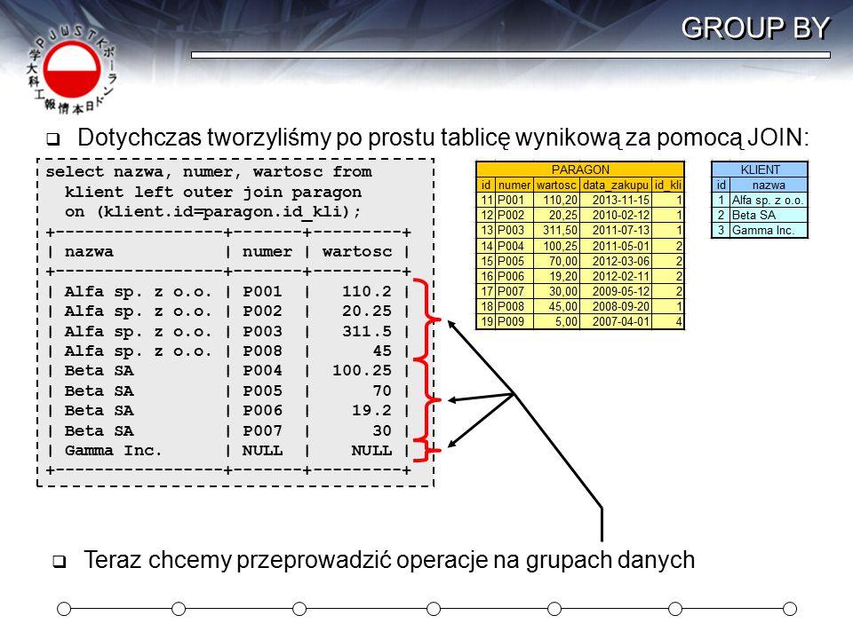 GROUP BY  Dotychczas tworzyliśmy po prostu tablicę wynikową za pomocą JOIN: select nazwa, numer, wartosc from klient left outer join paragon on (klient.id=paragon.id_kli); +-----------------+-------+---------+ | nazwa | numer | wartosc | +-----------------+-------+---------+ | Alfa sp.