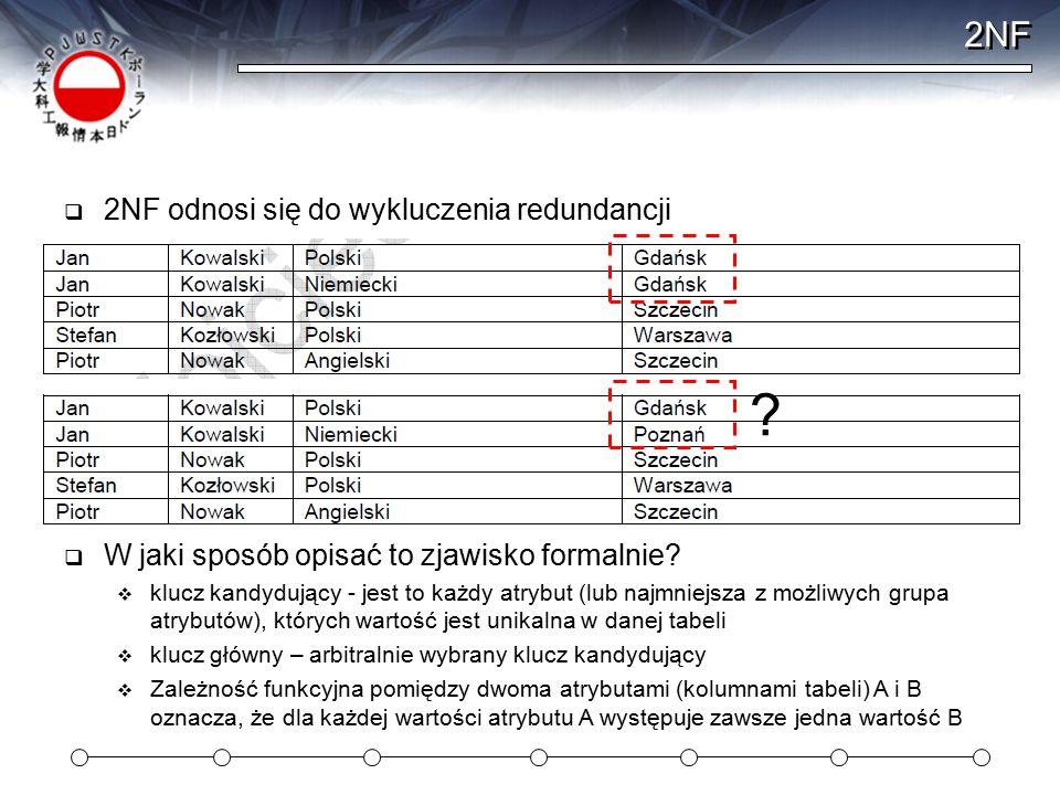2NF  2NF odnosi się do wykluczenia redundancji ?  W jaki sposób opisać to zjawisko formalnie?  klucz kandydujący - jest to każdy atrybut (lub najmn