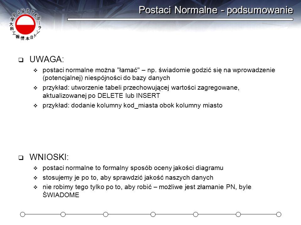 Postaci Normalne - podsumowanie  UWAGA:  postaci normalne można łamać – np.