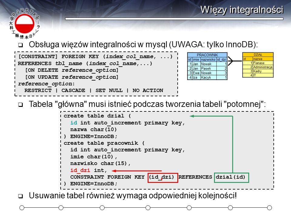 Więzy integralności  Obsługa więzów integralności w mysql (UWAGA: tylko InnoDB): [CONSTRAINT] FOREIGN KEY (index_col_name,...) REFERENCES tbl_name (index_col_name,...) [ON DELETE reference_option] [ON UPDATE reference_option] reference_option: RESTRICT | CASCADE | SET NULL | NO ACTION create table dzial ( id int auto_increment primary key, nazwa char(10) ) ENGINE=InnoDB; create table pracownik ( id int auto_increment primary key, imie char(10), nazwisko char(15), id_dzi int, CONSTRAINT FOREIGN KEY (id_dzi) REFERENCES dzial(id) ) ENGINE=InnoDB;  Tabela główna musi istnieć podczas tworzenia tabeli potomnej :  Usuwanie tabel również wymaga odpowiedniej kolejności!