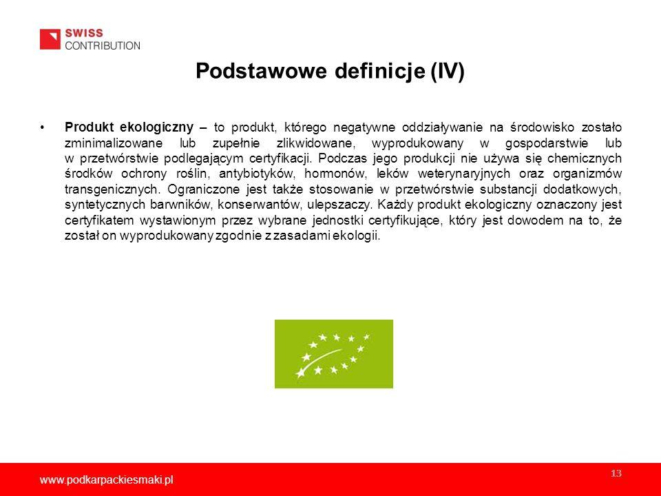 www.podkarpackiesmaki.pl 13 Podstawowe definicje (IV) Produkt ekologiczny – to produkt, którego negatywne oddziaływanie na środowisko zostało zminimalizowane lub zupełnie zlikwidowane, wyprodukowany w gospodarstwie lub w przetwórstwie podlegającym certyfikacji.