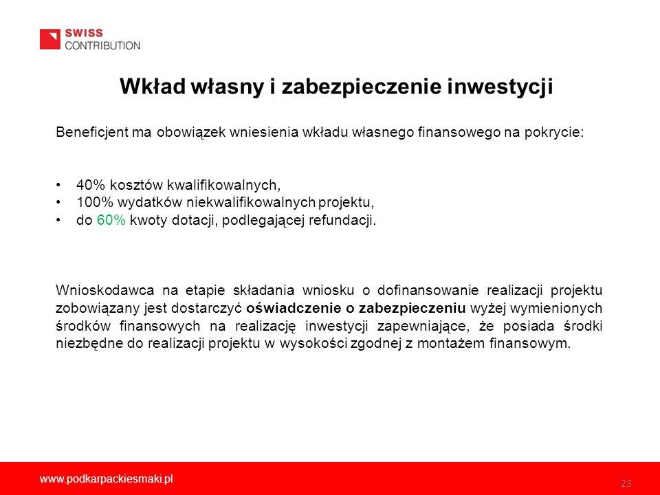 Wkład własny i zabezpieczenie inwestycji 23 www.podkarpackiesmaki.pl Beneficjent ma obowiązek wniesienia wkładu własnego finansowego na pokrycie: 40% kosztów kwalifikowalnych, 100% wydatków niekwalifikowalnych projektu, do 60% kwoty dotacji, podlegającej refundacji.