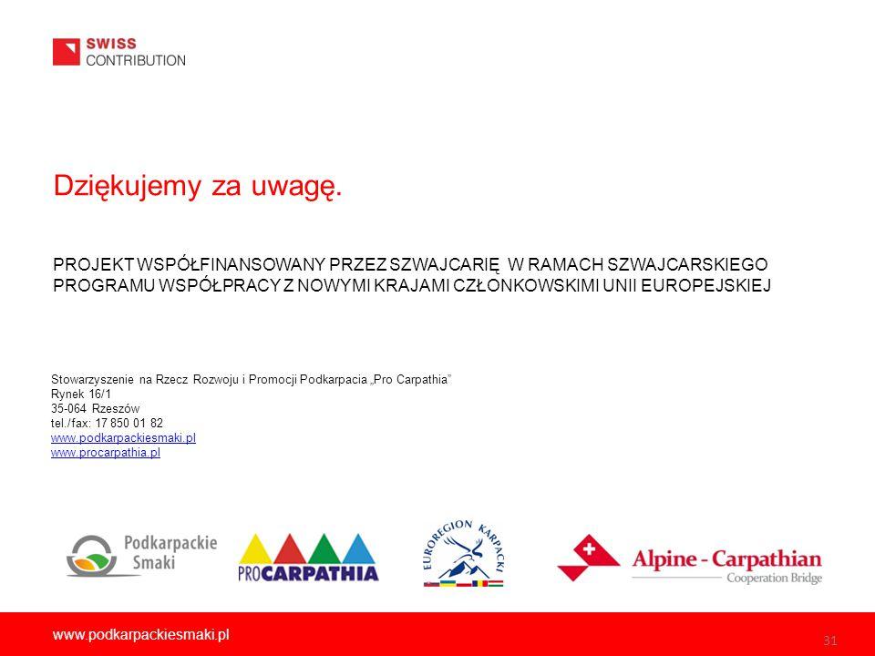31 www.podkarpackiesmaki.pl Dziękujemy za uwagę.