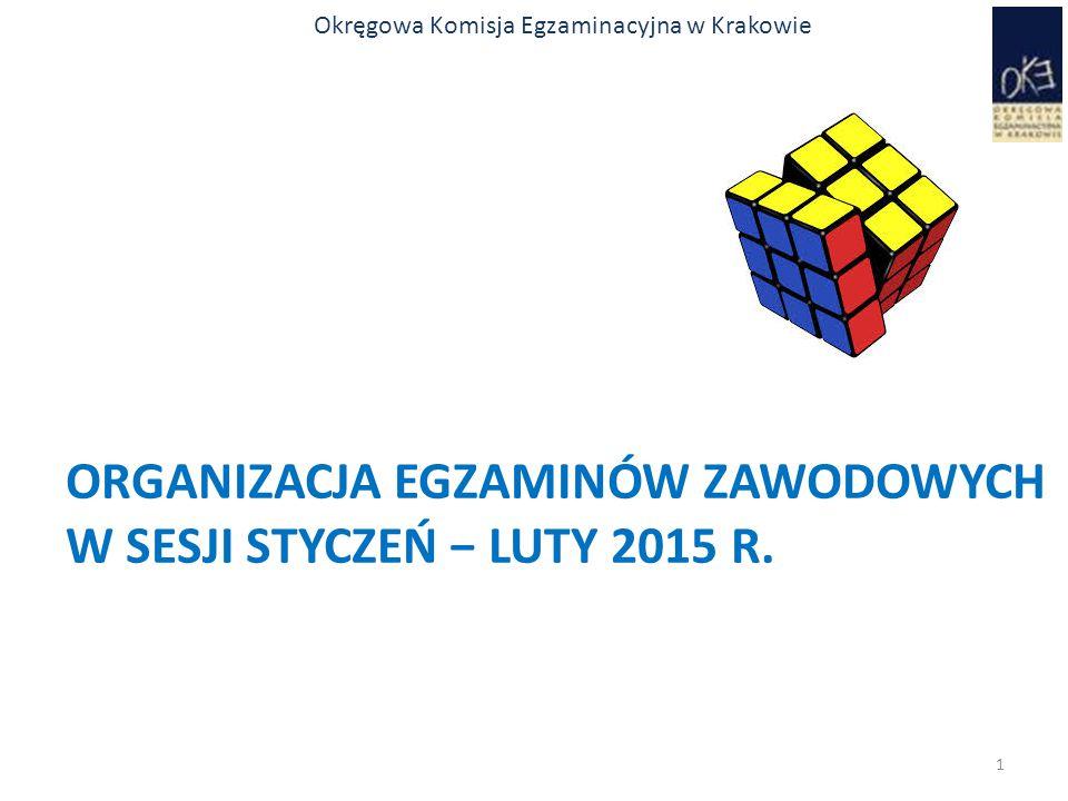 Okręgowa Komisja Egzaminacyjna w Krakowie ORGANIZACJA EGZAMINÓW ZAWODOWYCH W SESJI STYCZEŃ − LUTY 2015 R. 1